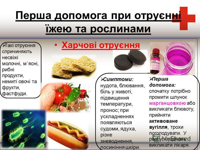 Перша допомога при отруєнні їжею та рослинами Харчові отруєння Такі отруєння спричиняють несвіжі молочні, м`ясні, рибні продукти, немиті овочі та фрукти, фастфуди. Симптоми: нудота, блювання, біль у животі, підвищення температури, пронос; при ускладн