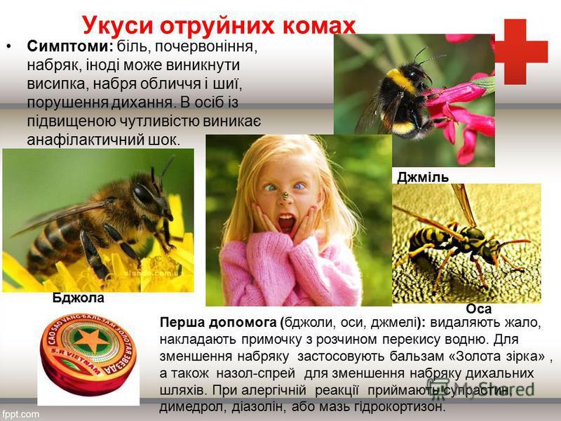 Укуси отруйних комах Симптоми: біль, почервоніння, набряк, іноді може виникнути висипка, набря обличчя і шиї, порушення дихання. В осіб із підвищеною чутливістю виникає анафілактичний шок. Перша допомога (бджоли, оси, джмелі): видаляють жало, наклада