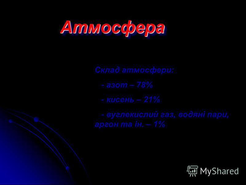 Атмосфера (від грец. атмос – пара) газова оболонка, розташована над поверхнею літосфери і гідросфери Тропосфера (від грец. тропос – зміна) – нижня частина атмосфери заввишки до 15-18км Тропосфера (від грец. тропос – зміна) – нижня частина атмосфери з