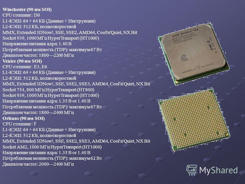 Winchester (90 нм SOI) CPU степпинг: D0 L1-КЭШ: 64 + 64 КБ (Данные + Инструкции) L2-КЭШ: 512 КБ, полноскоростной MMX, Extended 3DNow!, SSE, SSE2, AMD64, Cool'n'Quiet, NX Bit Socket 939, 1000 МГц HyperTransport (HT1000) Напряжение питания ядра: 1.40 В