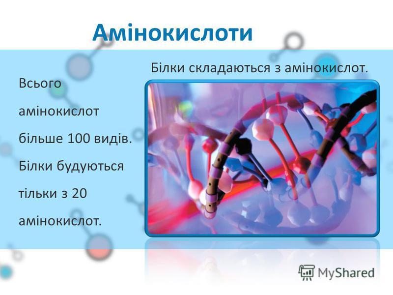 Амінокислоти Всього амінокислот більше 100 видів. Білки будуються тільки з 20 амінокислот. Білки складаються з амінокислот.