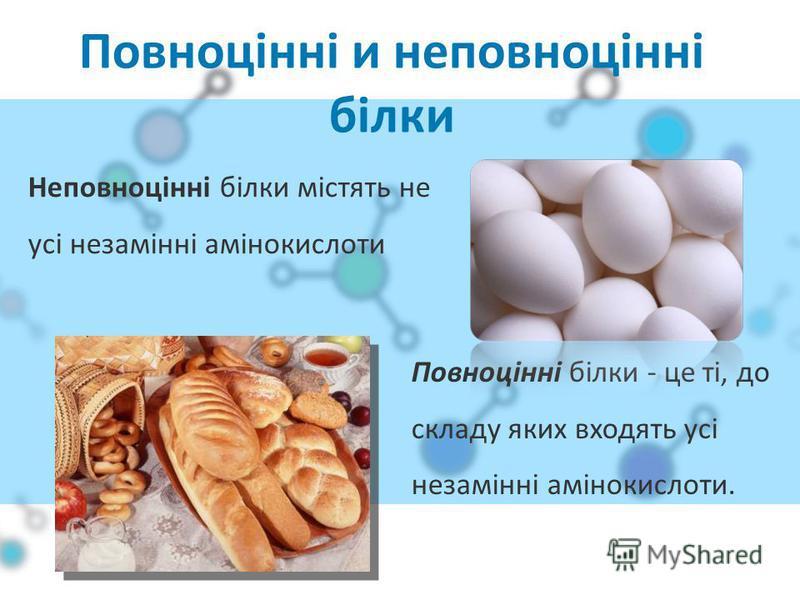 Повноцінні и неповноцінні білки Повноцінні білки - це ті, до складу яких входять усі незамінні амінокислоти. Неповноцінні білки містять не усі незамінні амінокислоти