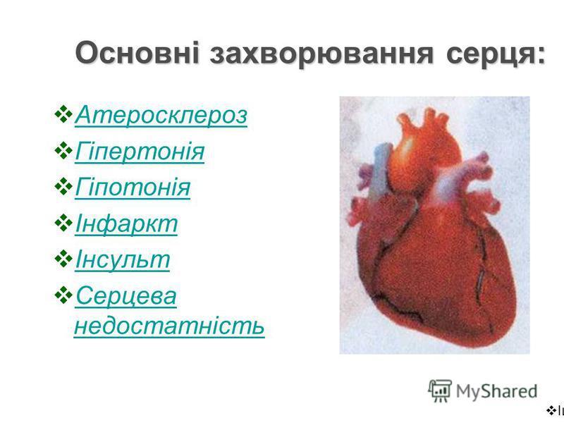 Основні захворювання серця: Атеросклероз Гіпертонія Гіпотонія Інфаркт Інсульт Серцева недостатність Серцева недостатність Ішемічна хвороба