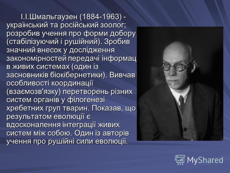 І.І.Шмальгаузен (1884-1963) - український та російський зоолог; розробив учення про форми добору (стабілізуючий і рушійний). Зробив значний внесок у дослідження закономірностей передачі інформації в живих системах (один із засновників біокібернетики