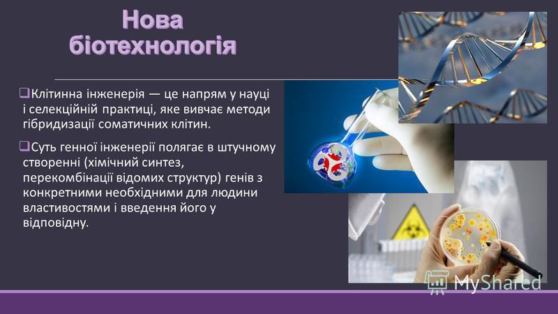 Клітинна інженерія це напрям у науці і селекційній практиці, яке вивчає методи гібридизації соматичних клітин. Суть генної інженерії полягає в штучному створенні (хімічний синтез, перекомбінації відомих структур) генів з конкретними необхідними для л
