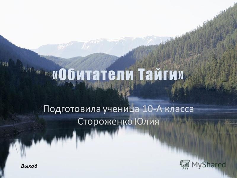 «Обитатели Тайги» Подготовила ученица 10-А класса Стороженко Юлия Выход
