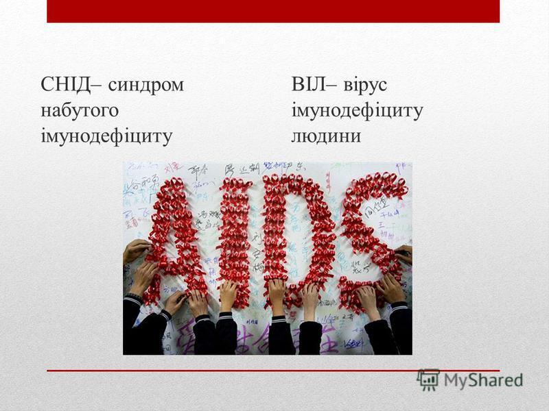 СНІД– синдром набутого імунодефіциту ВІЛ– вірус імунодефіциту людини