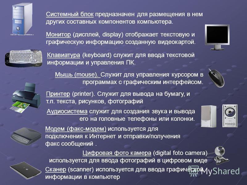 Системный блок предназначен для размещения в нем других составных компонентов компьютера. Аудиосистема служит для создания звука и вывода его на головные телефоны или колонки. Монитор (дисплей, display) отображает текстовую и графическую информацию с