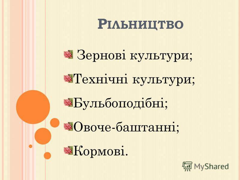 Р ІЛЬНИЦТВО Зернові культури; Технічні культури; Бульбоподібні; Овоче-баштанні; Кормові.