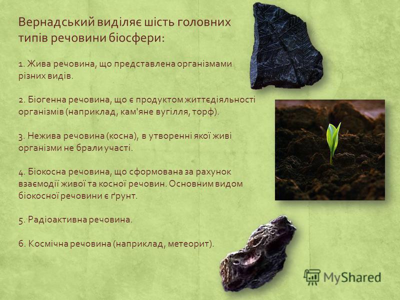 Вернадський виділяє шість головних типів речовини біосфери: 1. Жива речовина, що представлена організмами різних видів. 2. Біогенна речовина, що є продуктом життєдіяльності організмів (наприклад, кам'яне вугілля, торф). 3. Нежива речовина (косна), в