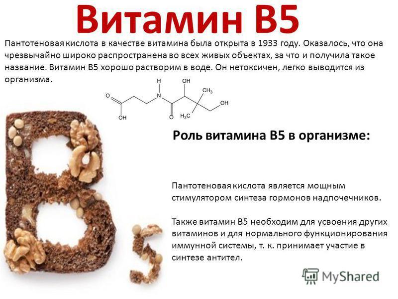 Витамин B5 Пантотеновая кислота в качестве витамина была открыта в 1933 году. Оказалось, что она чрезвычайно широко распространена во всех живых объектах, за что и получила такое название. Витамин В5 хорошо растворим в воде. Он нетоксичен, легко выво
