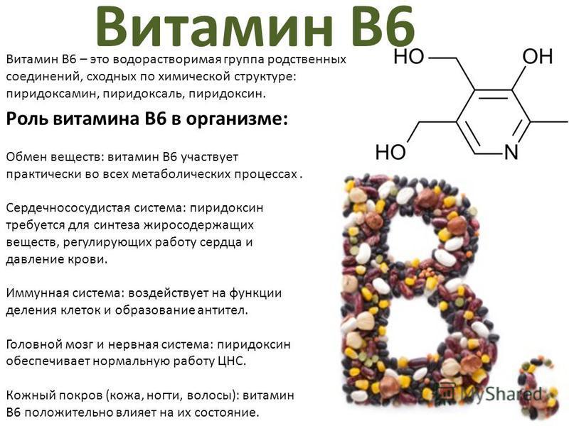 Витамин В6 – это водорастворимая группа родственных соединений, сходных по химической структуре: пиридоксамин, пиридоксаль, пиридоксин. Витамин B6 Роль витамина B6 в организме: Обмен веществ: витамин B6 участвует практически во всех метаболических пр