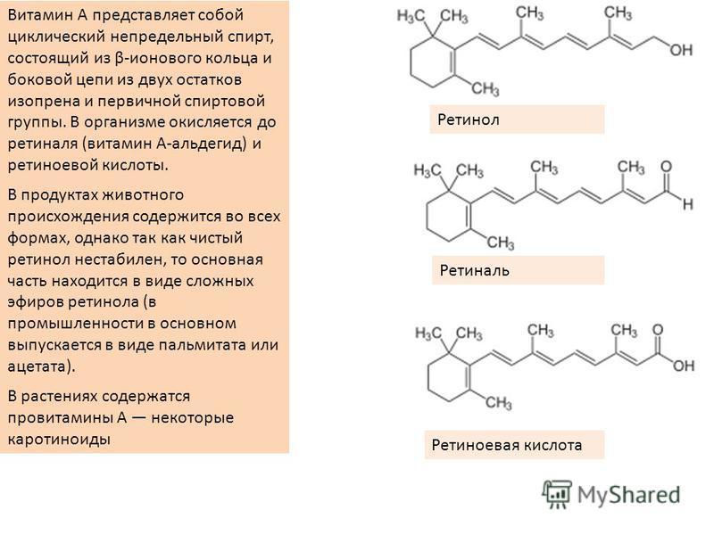 Витамин A представляет собой циклический непредельный спирт, состоящий из β-тонового кольца и боковой цепи из двух остатков изопрена и первичной спиртовой группы. В организме окисляется до ретиналя (витамин A-альдегид) и ретиноевой кислоты. В продукт