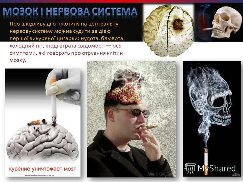 Про шкідливу дію нікотину на центральну нервову систему можна судити за дією першої викуреної цигарки: нудота, блювота, холодний піт, іноді втрата свідомості ось симптоми, які говорять про отруєння клітин мозку.