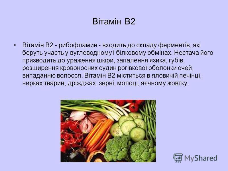 Вітамін В2 Вітамін В2 - рибофламин - входить до складу ферментів, які беруть участь у вуглеводному і білковому обмінах. Нестача його призводить до ураження шкіри, запалення язика, губів, розширення кровоносних судин рогівкової оболонки очей, випаданн