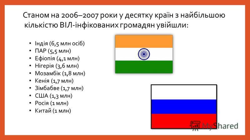 Станом на 2006–2007 роки у десятку країн з найбільшою кількістю ВІЛ-інфікованих громадян увійшли: Індія (6,5 млн осіб) ПАР (5,5 млн) Ефіопія (4,1 млн) Нігерія (3,6 млн) Мозамбік (1,8 млн) Кенія (1,7 млн) Зімбабве (1,7 млн) США (1,3 млн) Росія (1 млн)