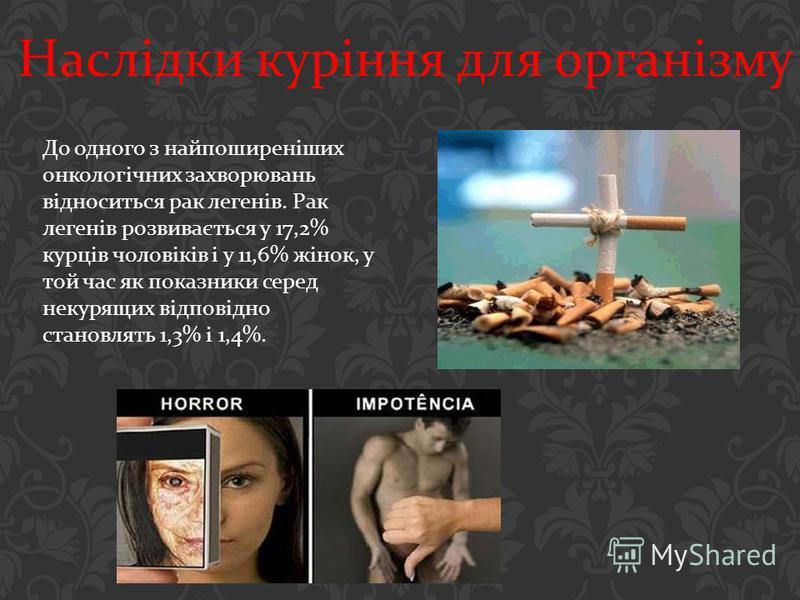 До одного з найпоширеніших онкологічних захворювань відноситься рак легенів. Рак легенів розвивається у 17,2% курців чоловіків і у 11,6% жінок, у той час як показники серед некурящих відповідно становлять 1,3% і 1,4%. Наслідки куріння для організму