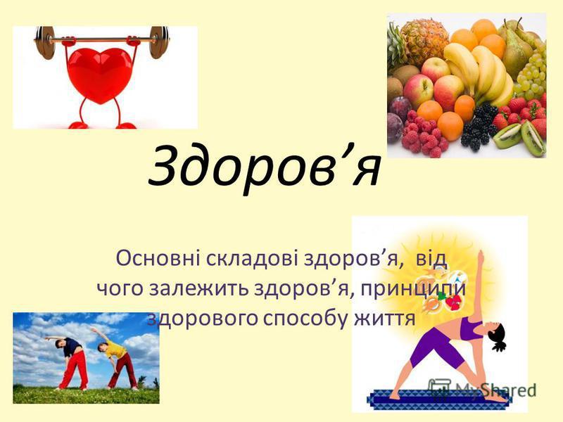 Здоровя Основні складові здоровя, від чого залежить здоровя, принципи здорового способу життя