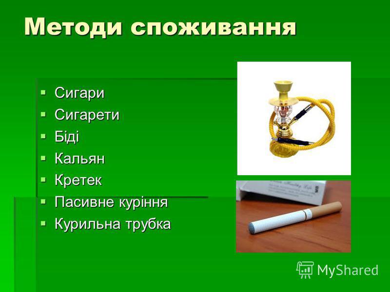 Методи споживання Сигари Сигари Сигарети Сигарети Біді Біді Кальян Кальян Кретек Кретек Пасивне куріння Пасивне куріння Курильна трубка Курильна трубка