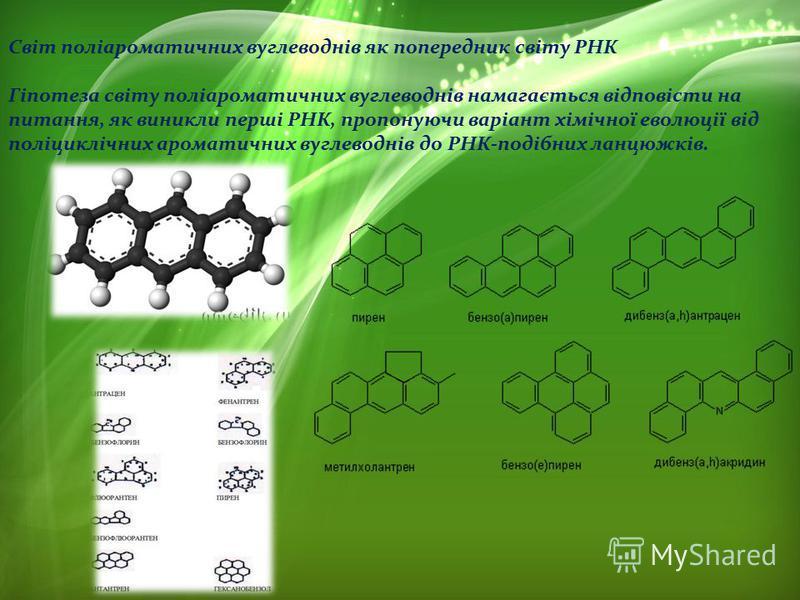 Світ поліароматичних вуглеводнів як попередник світу РНК Гіпотеза світу поліароматичних вуглеводнів намагається відповісти на питання, як виникли перші РНК, пропонуючи варіант хімічної еволюції від поліциклічних ароматичних вуглеводнів до РНК-подібни