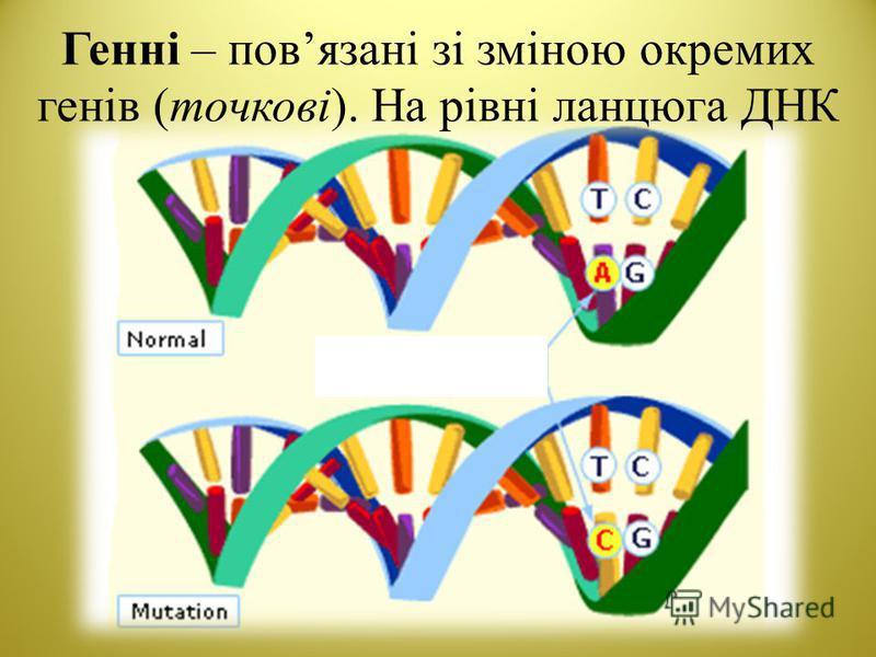 Генні – повязані зі зміною окремих генів (точкові). На рівні ланцюга ДНК