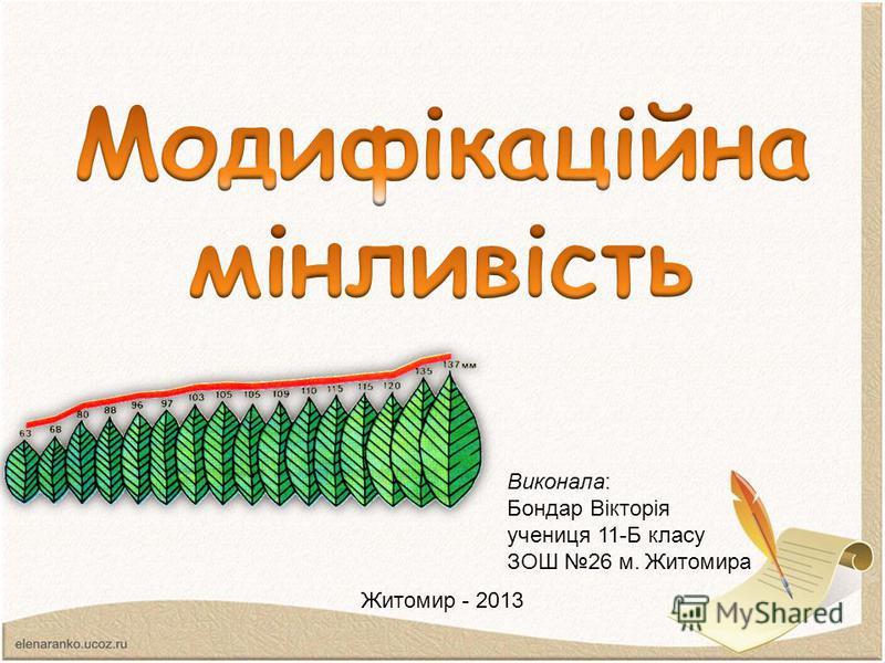 Виконала: Бондар Вікторія учениця 11-Б класу ЗОШ 26 м. Житомира Житомир - 2013