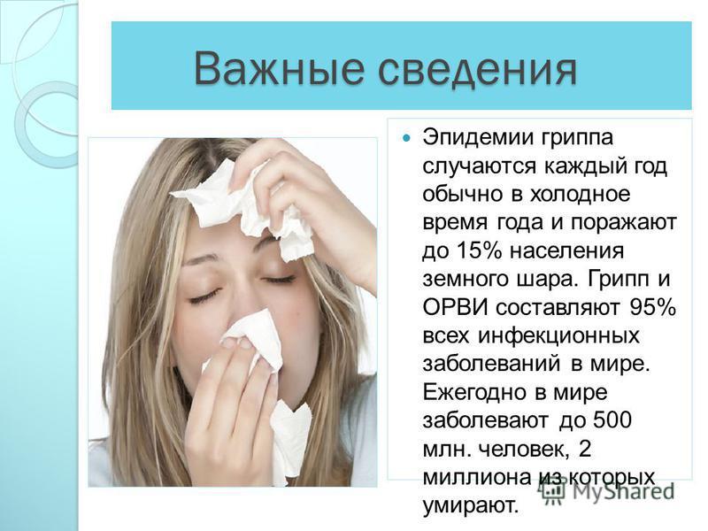 Важные сведения Важные сведения Эпидемии гриппа случаются каждый год обычно в холодное время года и поражают до 15% населения земного шара. Грипп и ОРВИ составляют 95% всех инфекционных заболеваний в мире. Ежегодно в мире заболевают до 500 млн. челов