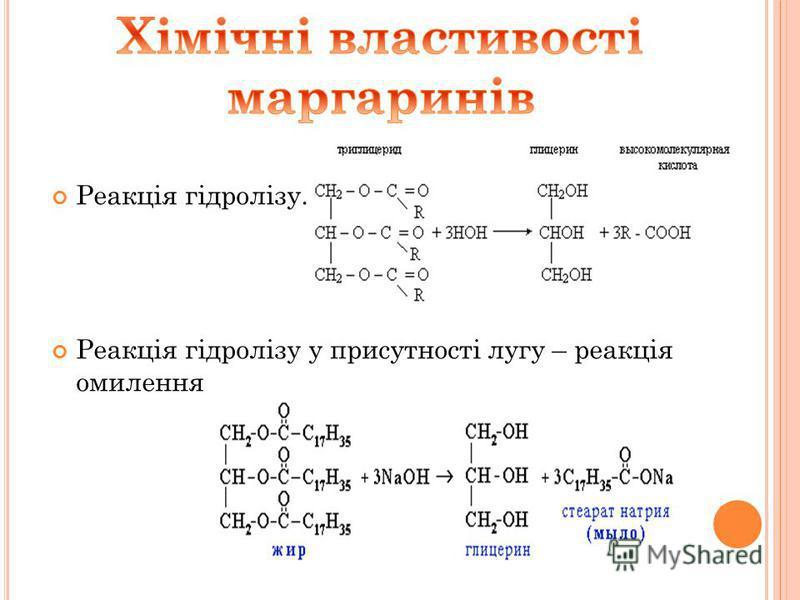 Маргарин – це продукт гідрування рідких жирів олій. Якісний склад маргаринів. Мякий маргарин утворений гліцерином та насиченими вищими карбоновими кислотами. Фізичні властивості. 1.Тверді 2. Легші за воду 3. У воді не розчиняються 4. Розчинні в орган