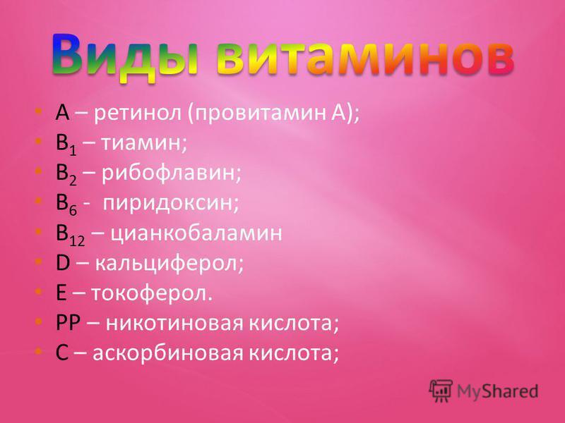 А – ретинол (провитамин А); В 1 – тиамин; В 2 – рибофлавин; В 6 - пиридоксин; В 12 – цианкобаламин D – кальциферол; Е – токоферол. РР – никотиновая кислота; С – аскорбиновая кислота;
