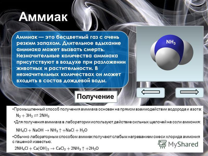 Аммиак Аммиак это бесцветный газ с очень резким запахом. Длительное вдыхание аммиака может вызвать смерть. Незначительные количества аммиака присутствуют в воздухе при разложении животных и растительности. В незначительных количествах он может входит