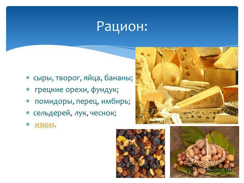 сыры, творог, яйца, бананы; грецкие орехи, фундук; помидоры, перец, имбирь; сельдерей, лук, чеснок; изюм.изюм Рацион: