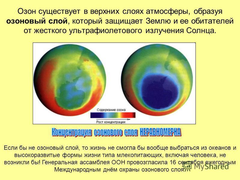 Озон существует в верхних слоях атмосферы, образуя озоновый слой, который защищает Землю и ее обитателей от жесткого ультрафиолетового излучения Солнца. Если бы не озоновый слой, то жизнь не смогла бы вообще выбраться из океанов и высокоразвитые форм