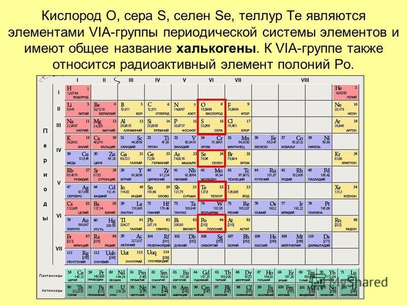 Кислород O, сера S, селен Se, теллур Te являются элементами VIА-группы периодической системы элементов и имеют общее название халькогены. К VIA-группе также относится радиоактивный элемент полоний Po.