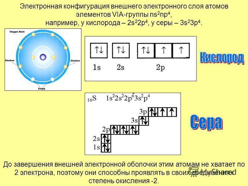 Электронная конфигурация внешнего электронного слоя атомов элементов VIA-группы ns 2 np 4, например, у кислорода – 2s 2 2p 4, у серы – 3s 2 3p 4. До завершения внешней электронной оболочки этим атомам не хватает по 2 электрона, поэтому они способны п