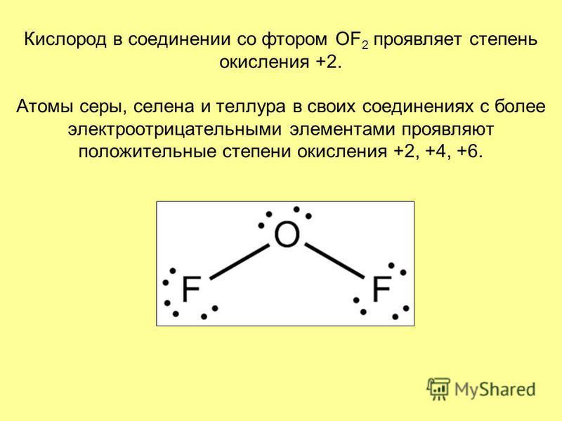 Кислород в соединении со фтором OF 2 проявляет степень окисления +2. Атомы серы, селена и теллура в своих соединениях с более электроотрицательными элементами проявляют положительные степени окисления +2, +4, +6.