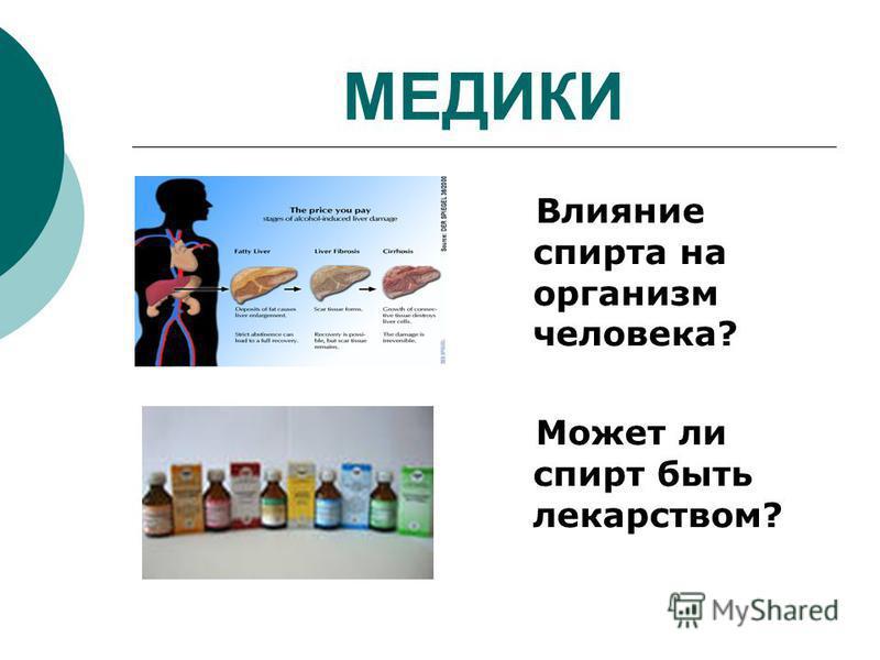 МЕДИКИ Влияние спирта на организм человека? Может ли спирт быть лекарством?