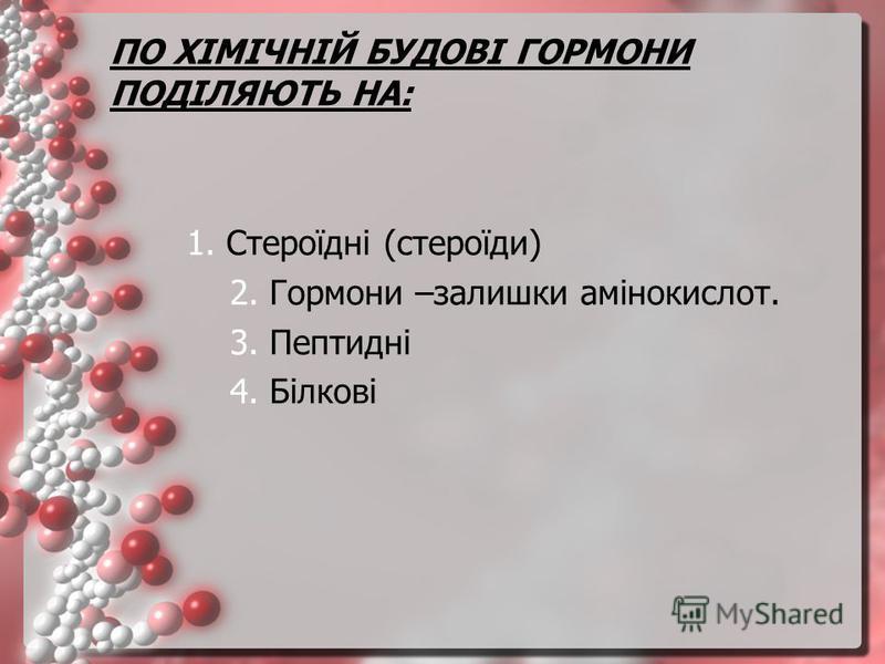 ПО ХІМІЧНІЙ БУДОВІ ГОРМОНИ ПОДІЛЯЮТЬ НА: 1. Стероїдні (стероїди) 2. Гормони –залишки амінокислот. 3. Пептидні 4. Білкові