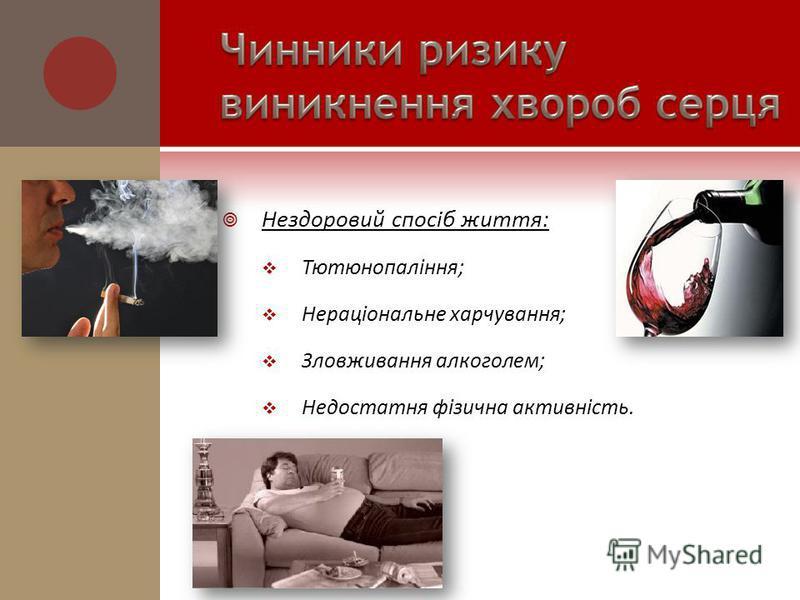 Нездоровий спосіб життя: Тютюнопаління; Нераціональне харчування; Зловживання алкоголем; Недостатня фізична активність.