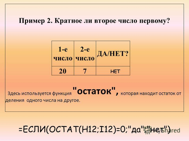 Пример 2. Кратное ли второе число первому? 1-е число 2-е число ДА/НЕТ? 207 Здесь используется функция остаток, которая находит остаток от деления одного числа на другое. =ЕСЛИ(ОСТАТ(H12;I12)=0;да;нет) НЕТ