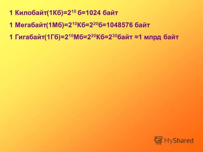1 Килобайт(1Кб)=2 10 б=1024 байт 1 Мегабайт(1Мб)=2 10 Кб=2 20 б=1048576 байт 1 Гигабайт(1Гб)=2 10 Мб=2 20 Кб=2 30 байт 1 млрд байт