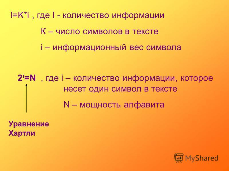 I=K*i, где I - количество информации К – число символов в тексте i – информационный вес символа 2 i =N, где i – количество информации, которое несет один символ в тексте N – мощность алфавита Уравнение Хартли