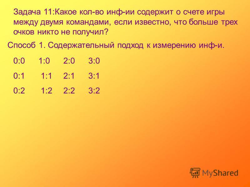 Задача 11:Какое кол-во инф-ии содержит о счете игры между двумя командами, если известно, что больше трех очков никто не получил? Способ 1. Содержательный подход к измерению инф-и. 0:01:02:03:0 0:1 1:12:13:1 0:2 1:22:23:2