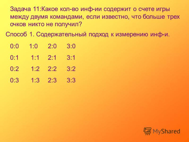 Задача 11:Какое кол-во инф-ии содержит о счете игры между двумя командами, если известно, что больше трех очков никто не получил? Способ 1. Содержательный подход к измерению инф-и. 0:01:02:03:0 0:1 1:12:13:1 0:2 1:22:23:2 0:3 1:32:33:3