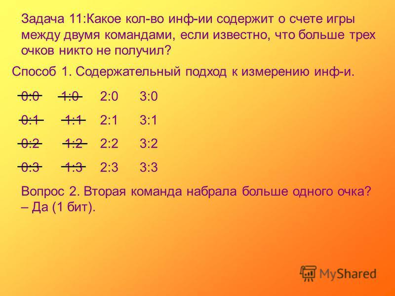 Задача 11:Какое кол-во инф-ии содержит о счете игры между двумя командами, если известно, что больше трех очков никто не получил? Способ 1. Содержательный подход к измерению инф-и. 0:01:02:03:0 0:1 1:12:13:1 0:2 1:22:23:2 0:3 1:32:33:3 Вопрос 2. Втор
