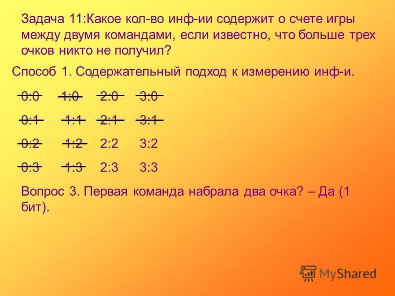 Задача 11:Какое кол-во инф-ии содержит о счете игры между двумя командами, если известно, что больше трех очков никто не получил? Способ 1. Содержательный подход к измерению инф-и. 0:01:02:03:0 0:1 1:12:13:1 0:2 1:22:23:2 0:3 1:32:33:3 Вопрос 3. Перв
