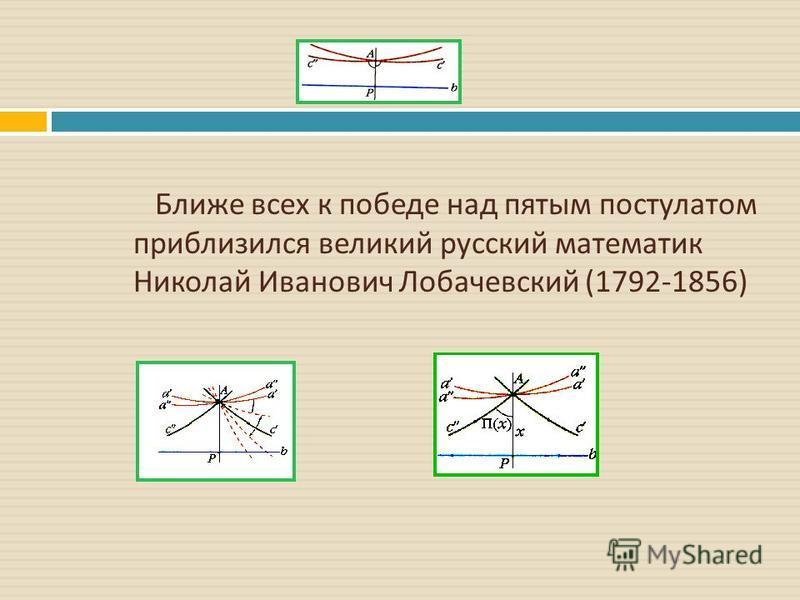 Ближе всех к победе над пятым постулатом приблизился великий русский математик Николай Иванович Лобачевский (1792-1856)