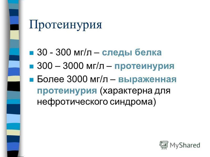 Протеинурия n 30 - 300 мг/л – следы белка n 300 – 3000 мг/л – протеинурия n Более 3000 мг/л – выраженная протеинурия (характерна для нефротического синдрома)