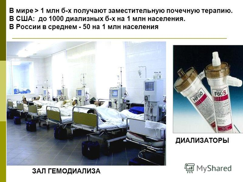 В мире > 1 млн б-х получают заместительную почечную терапию. В США: до 1000 диализных б-х на 1 млн населения. В России в среднем - 50 на 1 млн населения ДИАЛИЗАТОРЫ ЗАЛ ГЕМОДИАЛИЗА