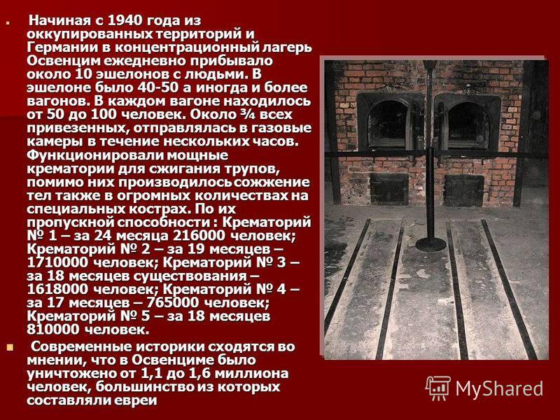 Начиная с 1940 года из оккупированных территорий и Германии в концентрационный лагерь Освенцим ежедневно прибывало около 10 эшелонов с людьми. В эшелоне было 40-50 а иногда и более вагонов. В каждом вагоне находилось от 50 до 100 человек. Около ¾ все