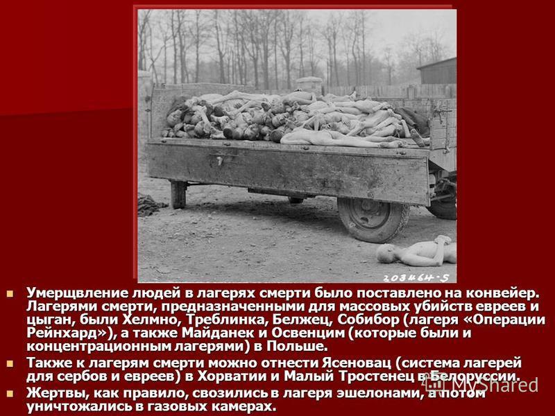 Умерщвление людей в лагерях смерти было поставлено на конвейер. Лагерями смерти, предназначенными для массовых убийств евреев и цыган, были Хелмно, Треблинка, Белжец, Собибор (лагеря «Операции Рейнхард»), а также Майданек и Освенцим (которые были и к